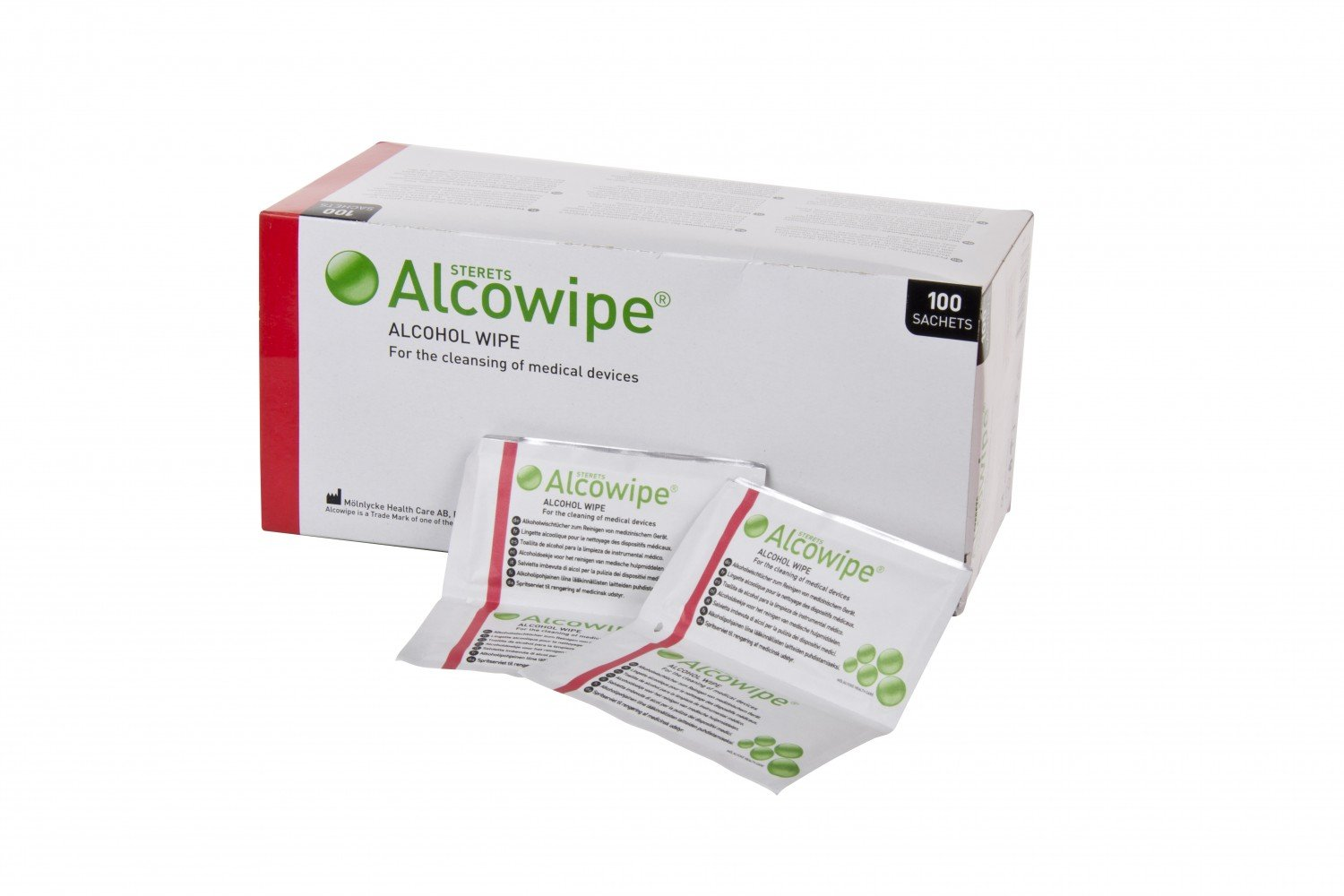 Sterets WU10009268 Alcowipe Alcohol Wipe, 180 mm Length, 140 mm Width, White (Pack of 100) MOLNLYCKE HEALTHCARE LTD