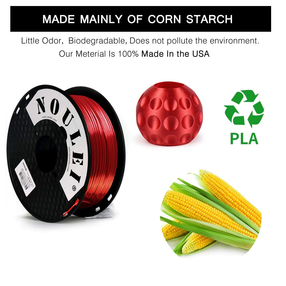 Noulei Filamento de para impresi/ón 3d 1.75mm PLA Silk GOLD Shiny Printing Filament 1KG 1 Spool