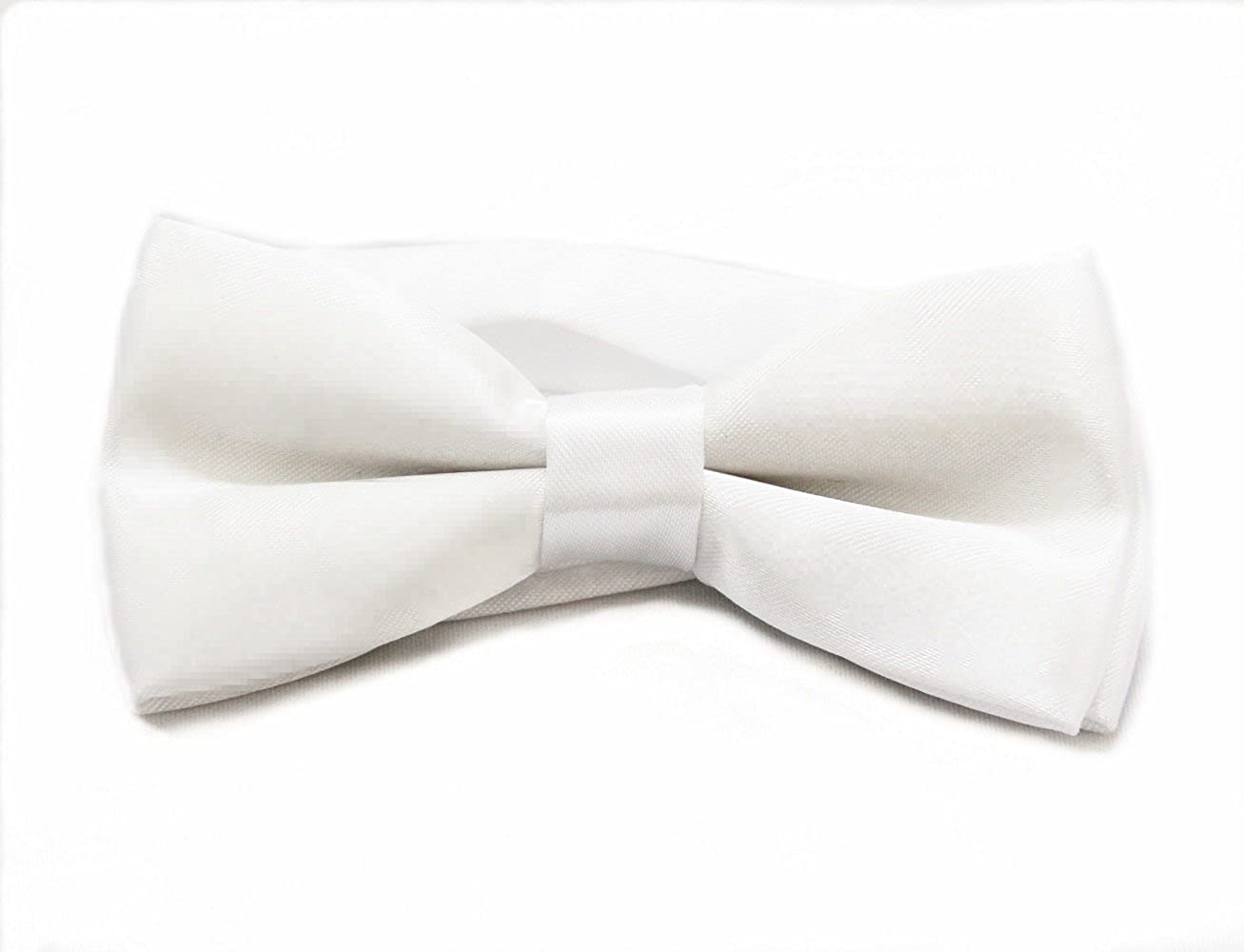 White Soophen Solid Color Banded bowtie