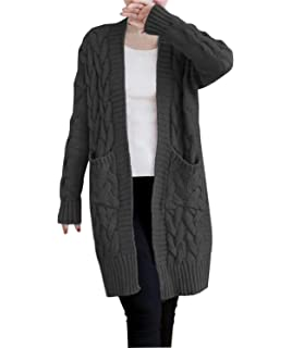 9f48acf5d1 NUTEXROL Women s Open Front Long Sleeve Knit Think Cardigan Chunky Sweater  Oversized Coat
