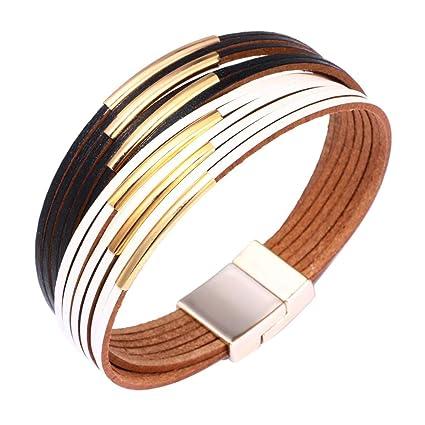 Vintage Multilayer Leather Bracelet Handmade Men/'s Women/'s Magnetic Buckle Clasp