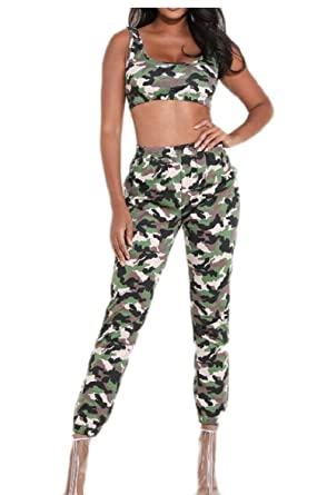 b94411c5bc72 EKU Women's Two Piece Camo Print Tank Top Jogger Pants Club Outfits Set  Green XS