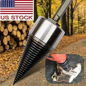 Heavy Wood Drill Bit Firewood Splitter U Anti-Skid Thread U Screw Splitting Cone Screw Cone Driver Fire Wood Log Splitter Hex Shank Handle only Shipping From USA (32 mm)