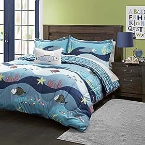 Amazon Com 4 Piece Kids Blue Sea World Theme Comforter