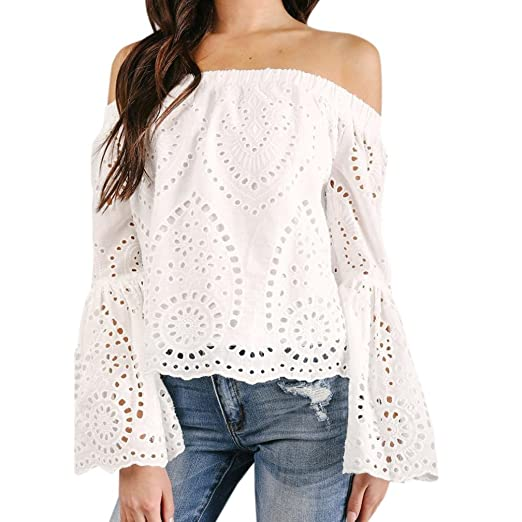 7f9e0ee7a91 Nevera Sexy Women Off Shoulder Long Sleeve Hollow Lace Lovely Loose Blouse  Tops T-Shirt