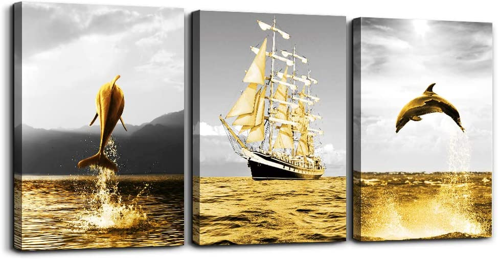 Wall Art for living room bathroom wall decorations for bedroom kitchen artwork Canvas Prints 12x16 inch/piece, 3 Panels Home bathroom Wall decor posters golden ocean fish and the sailboats painting