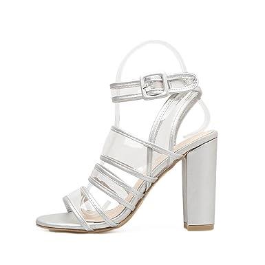 4615fec19fde4f Amazon.com  Women Sandals Transparent Chunky Heel Pvc Clear Sandals Shoes  Women  Clothing