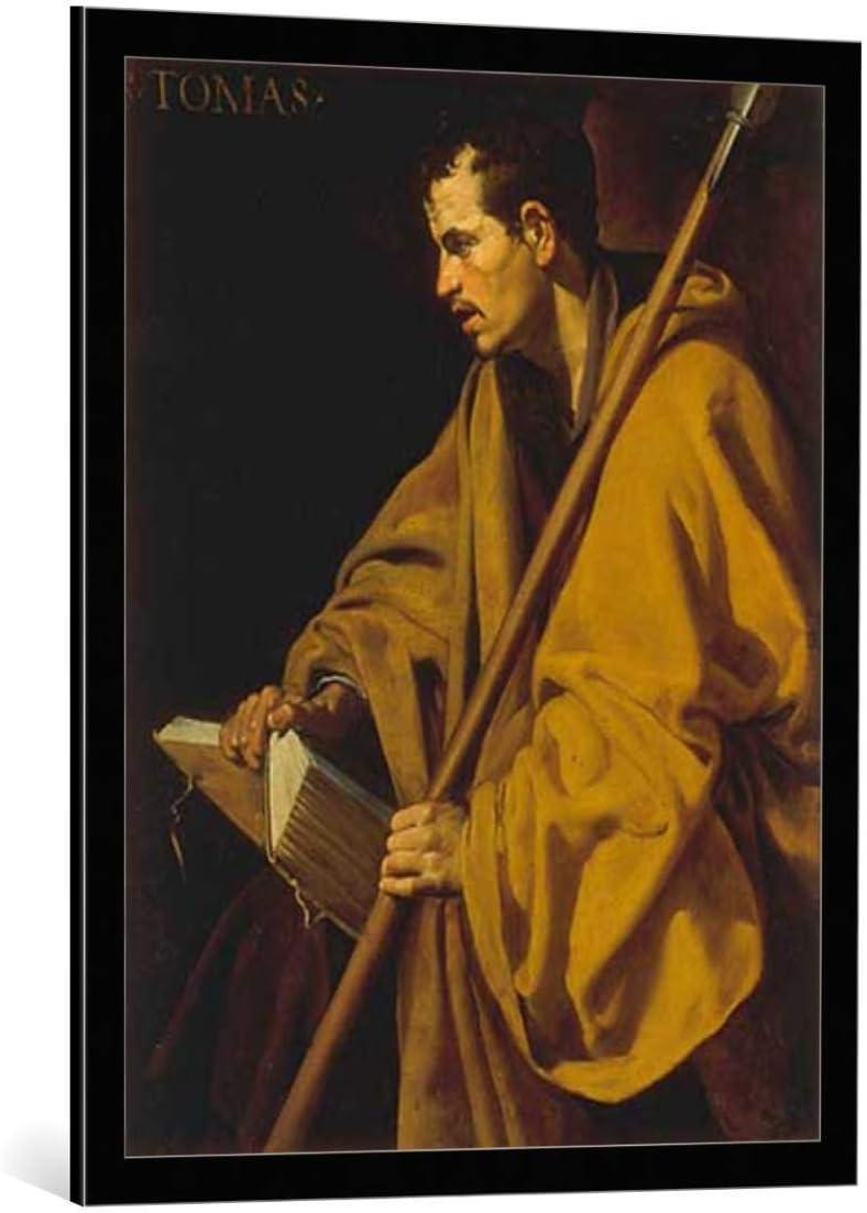 Kunst für Alle Cuadro con Marco: Diego Rodriguez de Silva y Velazquez Thomas The Apostle - Impresión artística Decorativa con Marco, 65x85 cm, Negro/Canto Gris
