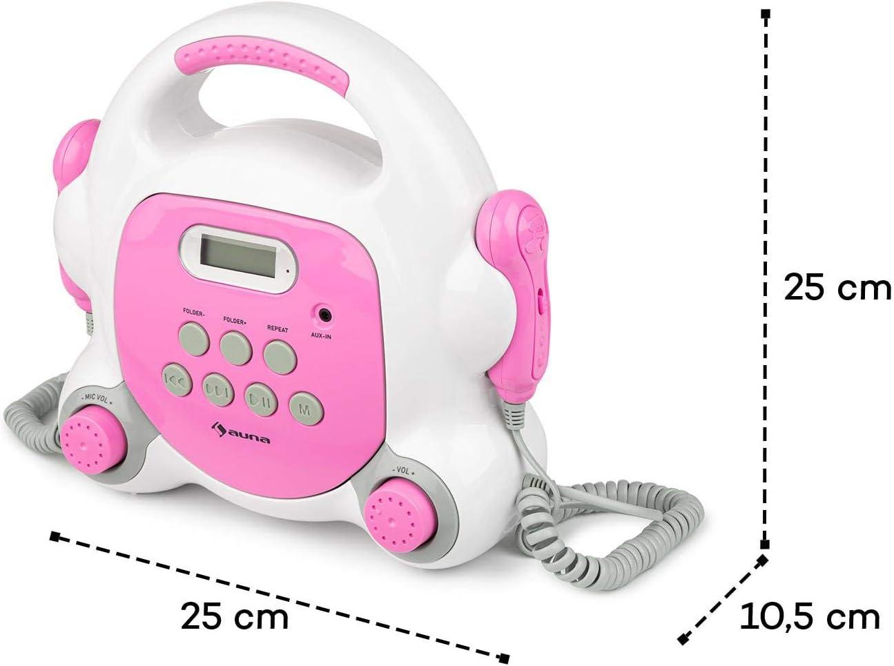 USB-Port Bluetooth Strom- und Batteriebetrieb gr/ün AUNA Pocket Rocker BT Karaoke-Player Sing-A-Long mit 2 x Handmikrofon LCD-Display MP3-Wiedergabe praktischer Tragegriff AUX-Anschluss
