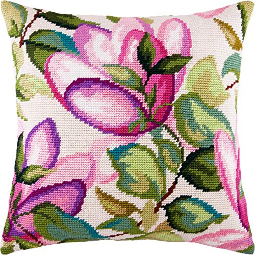 (Magnolia. Cross Stitch Kit. Throw Pillow Case 16×16 Inches. Home Decor, DIY Embroidery Needlepoint Cushion Cover Front, Printed Tapestry Canvas, European Quality. Flowers, Floral )