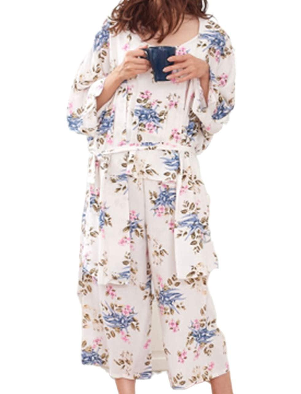 Camellia White PT&Key Women's Sleepwear Sets Elegant 3pcs Pajamas Floral Cami Dressing Gown and Pants Suits