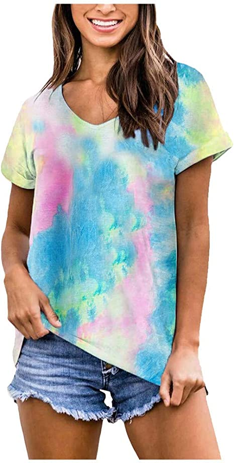 Damen T-Shirt Lose Baggy Top Gradient Kurzarmshirt Casual Bluse Tunika Oberteil