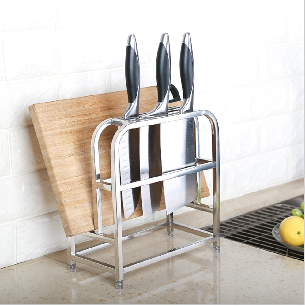 Knife Drying Rack Stainless Steel Knife Block w Cutting Board Hoder