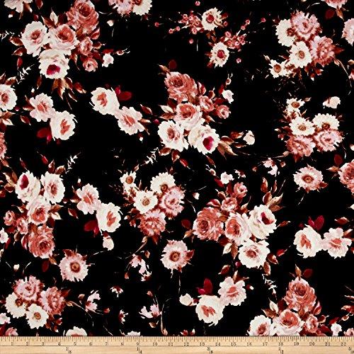 Fabric Liverpool Knit English Floral on Black, Rust