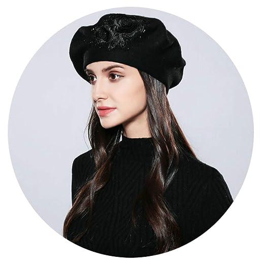 Aooaz Faux Rabbit Hair Hat Knitting Flower Pattern with Drilling Hats Women  Hat Black Length 56 b865caa35