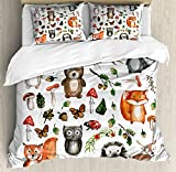 Woodland Duvet Cover Set Queen Size by Lunarable, Watercolor Hand Drawn Forest Animals Illustration among Elements of the Woods, Decorative 3 Piece Bedding Set with 2 Pillow Shams, Multicolor