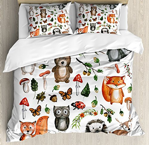 Woodland Duvet Cover Set Queen Size by Lunarable, Watercolor Hand Drawn Forest Animals Illustration among Elements of the Woods, Decorative 3 Piece Bedding Set with 2 Pillow Shams, Multicolor by Lunarable