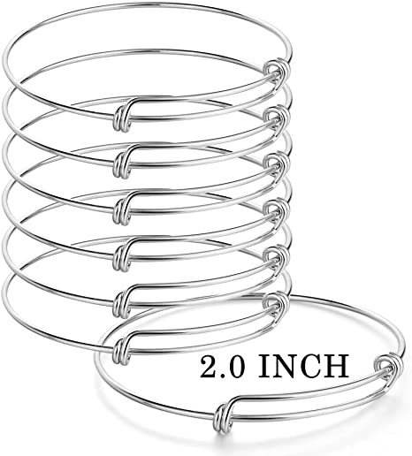 Silver UPINS 60 Pieces Expandable Bangle Bracelets Adjustable Wire Blank Bracelets for Women DIY Jewelry Making