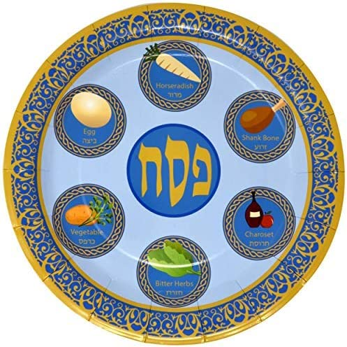 25 Paper Seder Plates Disposable Pesach Plates for Kids. Paper Plates for Passover