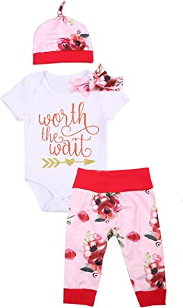 Newborn Baby Girl Clothes Floral Bodysuit Romper Hat Headband Outfits Pant