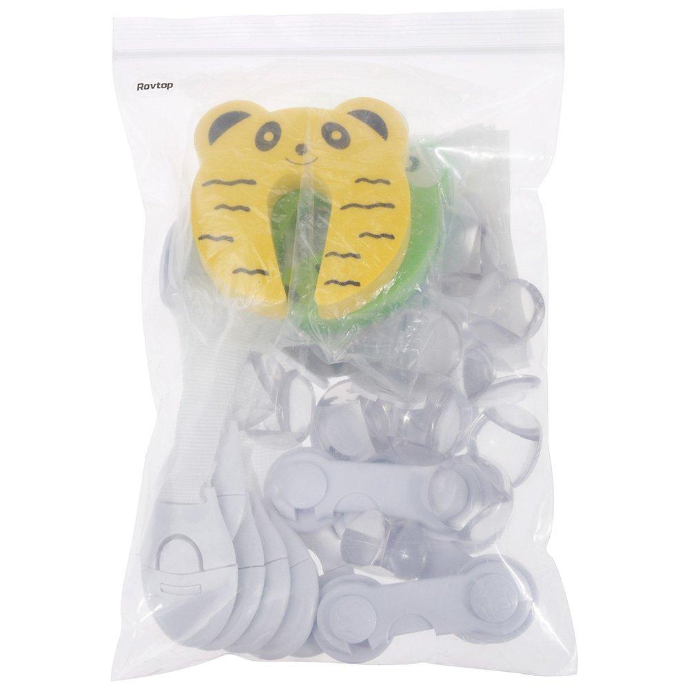 2 Bloc porte Anti Pincement 10 Caches prises 6 verrous de tiroirs ajustables Rovtop 36Pcs Kit de s/écurit/é pour enfants avec 6 verrous de s/écurit/é pour enfants 12 Protege Coin