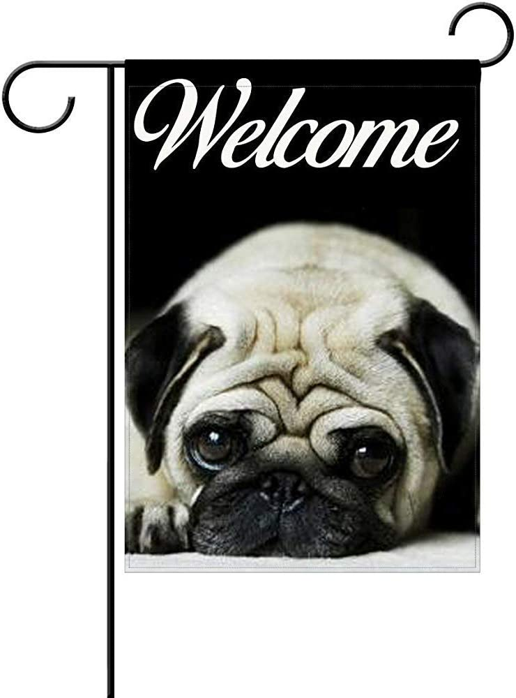 "SmallGardenflagMim Cute Pug Garden Flag, Custom Holiday Celebrate Garden Decor Flag,12""x18"" Polyester Double Sided"