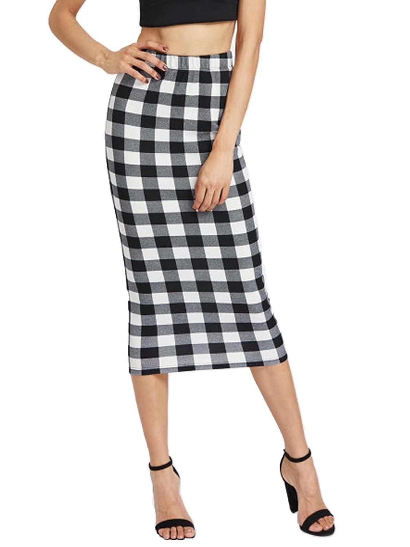 9b147d33ad good Verdusa Women's Elegant Stretchy High Waist Work Plaid Pencil Midi  Skirt