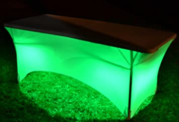 Rectangular Stretch Light Up LED Tablecloth Cover (Includes Remote For  Color Selection) (6FT