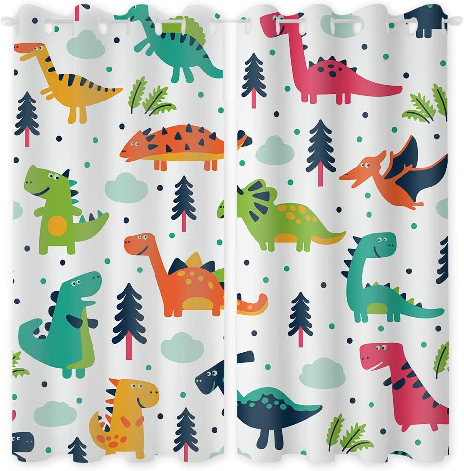 Riyidecor Rustic Dinosaurs Blackout Curtains 2 Panels 52 x 63 Inch Colorful Dino Cartoon Kids Jurassic Elasmosaurs Decor Garage Printed Living Room Bedroom Window Drapes Fabric