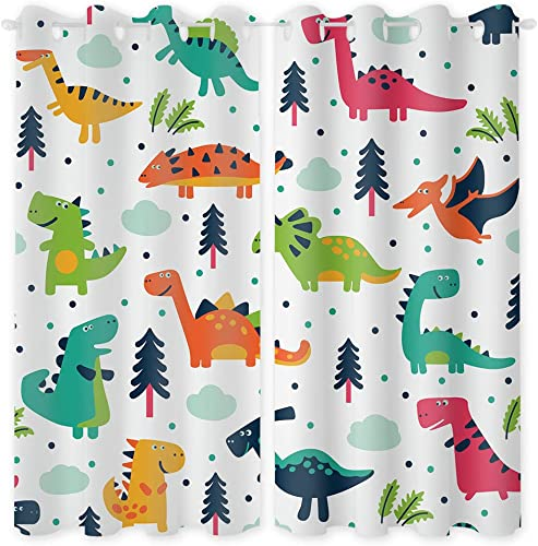 Riyidecor Rustic Dinosaurs Blackout Curtains 2 Panels 52 x 63 Inch Colorful Dino Kids Boys Cartoon Jurassic Elasmosaurs Cute Cool Funny Decor Garage Printed Living Room Bedroom Window Drapes Fabric