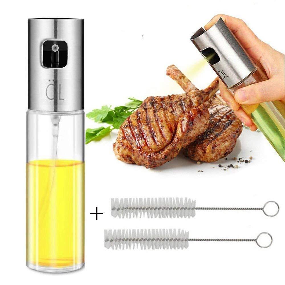 Dricar Spruzzino Nebulizzatore Olio - Spruzzatore Olio da Cucina, Nebulizzatore Olio d'oliva con 2 Pennelli di Pulizia per BBQ/Aceto/Salsa di Soia(100 ml)