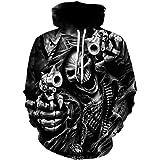 KANIGD Unisex 3D Digital Printed Hoodie Novelty Skull Sweatshirt Pullover Hoodies