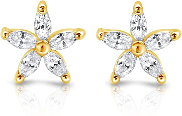 18K Gold Plated Flower Cubic Zircon Stud Earring for womanFree Fast Shipping
