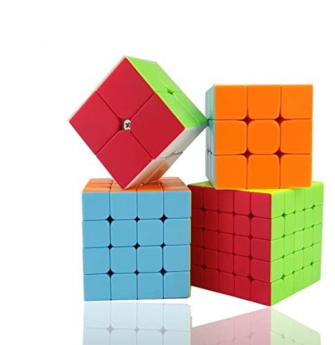 KalorK Stickerless Magic Rubiks Cubes Puzzle Speed Cube Set Standard Color Smooth Sequential Toy Bundle Pack 2x2x2,3x3x3,4x4x4,5x5x5