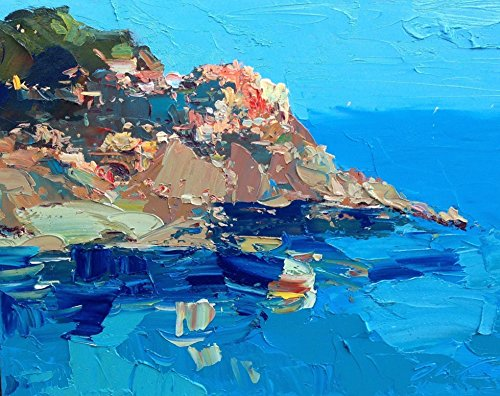 Manarola Cinque Terre Abstract Italy Coast Prints Canvas Artwork Seascape Sea Ocean Wall Art Home Decor Bedroom Ideas Gifts for Him Her Christmas Present from Original Oil Painting of Agostino (Seaside Dreams Poster)