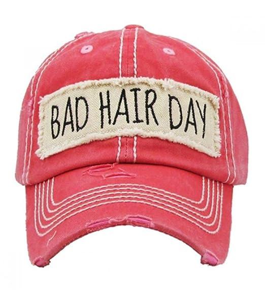 Kbethos Women s Bad Hair Day Vintage Patch Baseball Hat Cap (Hot Pink) ce025002fc