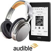 Kindle 8GB Wifi Paperwhite + Over Ear Wireless Bluetooth Stereo Headphones and Audible 3 Month Free Trial