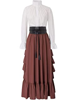 Women 2pcs Set Renaissance Costume Victorian Long Sleeve Blouse+Ruffled A Line Skirt
