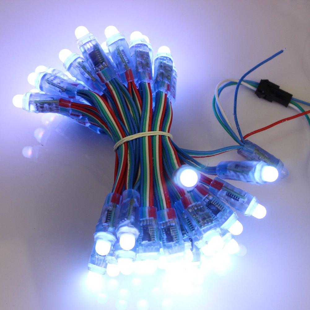GoesWell - Cuerda de ledes RGB de 12 mm WS2801 (50pcs) Digital RGB LED Pixeles IP65: Amazon.es: Iluminación
