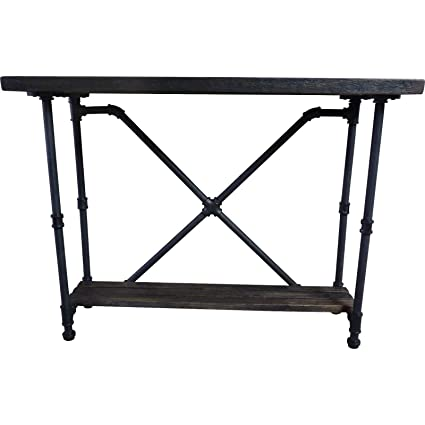 Furniture Pipeline Industrial 2 Tier Pipe Console Sofa Hall Table, Metal  And Reclaimed