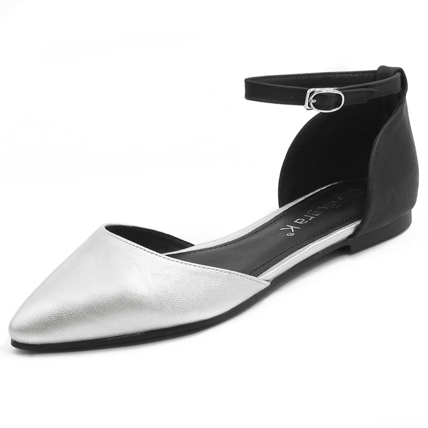 Allegra K Women Pointed Toe Color Block Open Sides Ankle Strap Flats