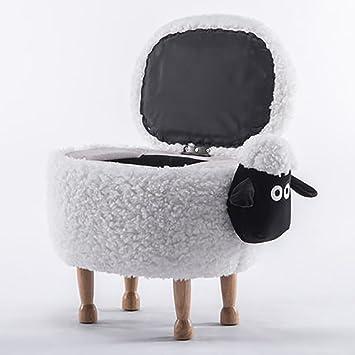 D&L Kinder Tiere Schafe Storage Hocker, Ottomane Kreativ Aufbewahrungsbox Fußhocker 4 Beine Massivholz Polstermöbel Schuh hocker Weiß L64xW37xH46cm