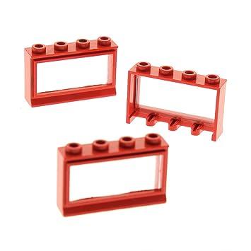 LEGO Bausteine & Bauzubehör Baukästen & Konstruktion 3 x Lego System Fenster Rahmen rot transparent weiss 1x4x2 Haus Window 453