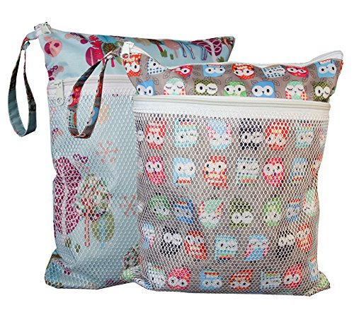 Sleeping Lamb Baby Wet and Dry Cloth Diaper Bag 2 pcs Set (Giraffe and Owls) (Wet Bags For Cloth Diapers Travel compare prices)