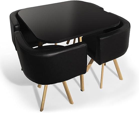 Menzzo Table A Manger et Chaises Scandinaves Noir ...