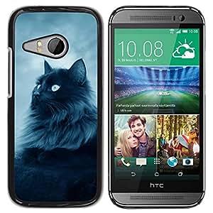 Caucho caso de Shell duro de la cubierta de accesorios de protección BY RAYDREAMMM - HTC ONE MINI 2 / M8 MINI - Cat Furry Long Hair Grey Blue Eyes Feline