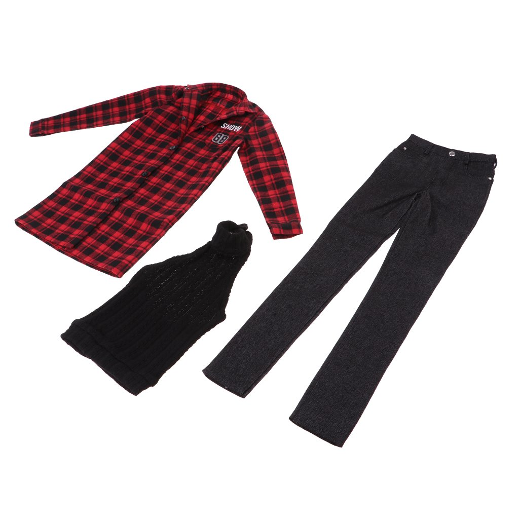 Prettyia 1 3 Bjd 70Cm Uncle Accessories Red Overcoat Vest Jeans for Sd17 Dk Dz Aod Dollfie