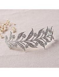 Bella-Vouge Big Leaf Crystal Bridal Wedding Prom Tiara Rhinestone Crystal Tiara