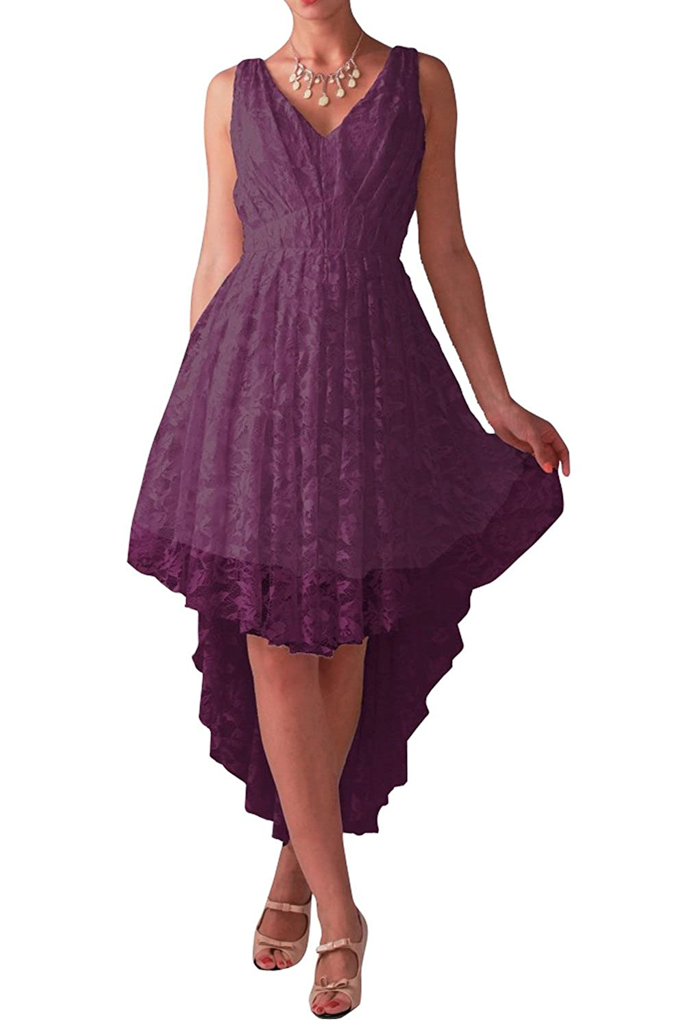 JudyBridal Women V-neck Lace Hi-low Cocktail Homecoming Party Evening Dresses US18W Vintage Violet