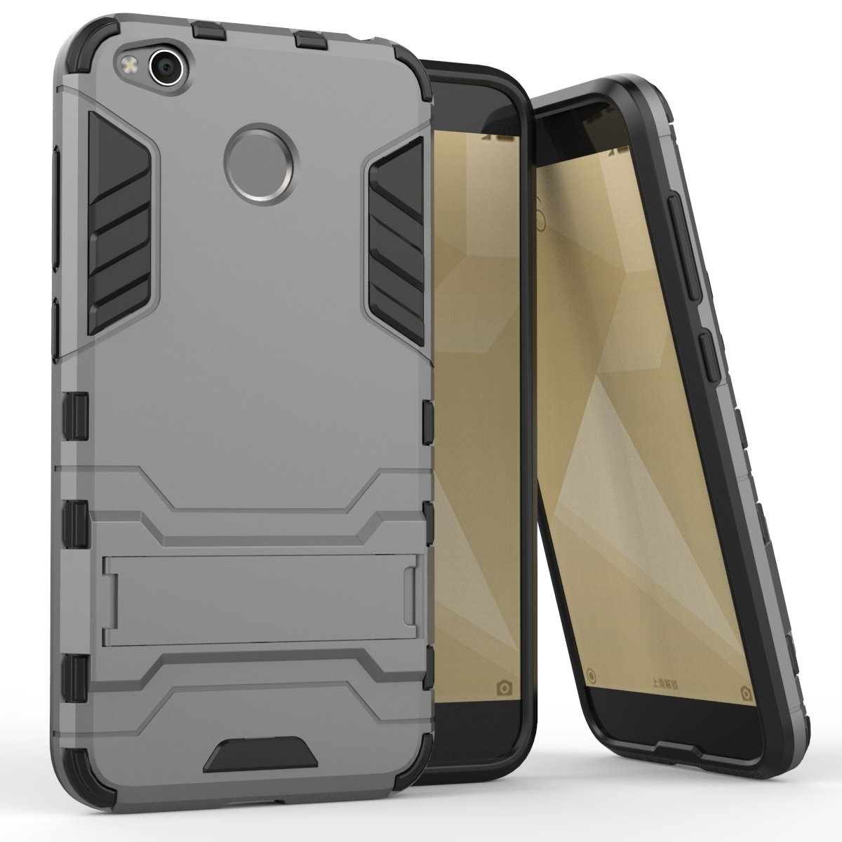 Dwaybox Xiaomi Redmi Note 4 4x Armor Case 2 In 1 Aluminium Tempered Glass Hard For Black Gold Hybrid Heavy Duty Back Cover With Kickstand